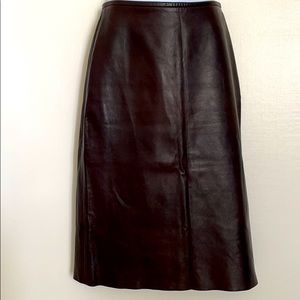 Barbara Bui leather brown knee length lined skirt